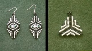 Earrings : How to bead a triangle with delica beads beginners tutorial