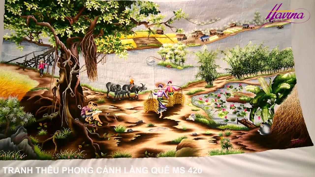 Tranh Thêu Phong Cảnh – Tranh Thêu Phong Cảnh Làng Quê MS 420 của anh Quang ở Hóc Môn