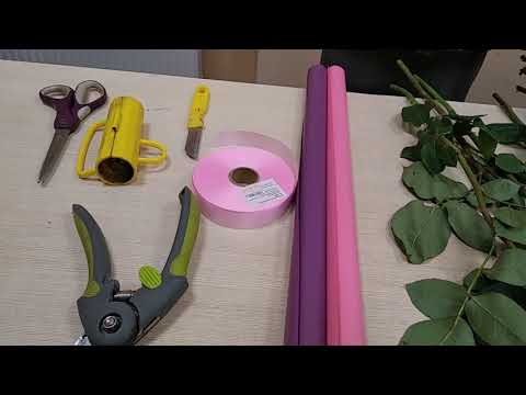 Как сделать букет из розы, обучающее видео № 365,часть 1