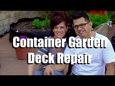 Container Garden Deck Repair and Leaf Compost Pile // CaliKim Cam
