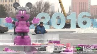 70 китайских скульпторов строят ледовый городок для астанчан