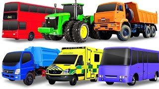 Learning Street Vehicles for Kids. Cars and Trucks. Dump truck Tractor Garbage truck Ambulance Toys