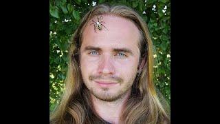 Garden Spider climbing on my face.