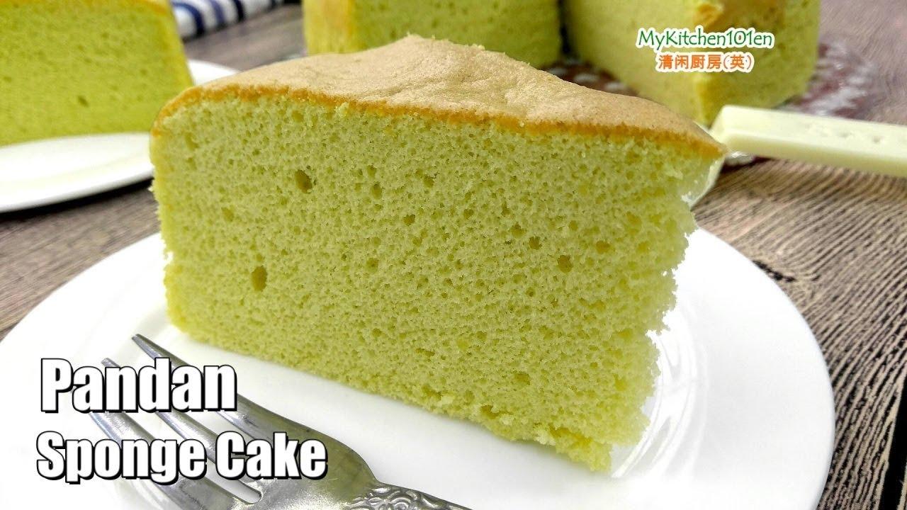 Pandan Sponge Cake Mykitchen101en