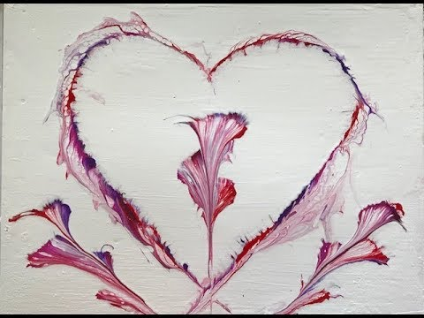 (55) How to do Acrylic Pouring of a Heart String Pull
