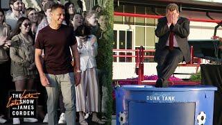 Chicharito Dunk Tank Target Practice w/ Usher & Alison Pill