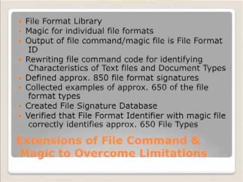 File Format Identification Technologies, William Underwood