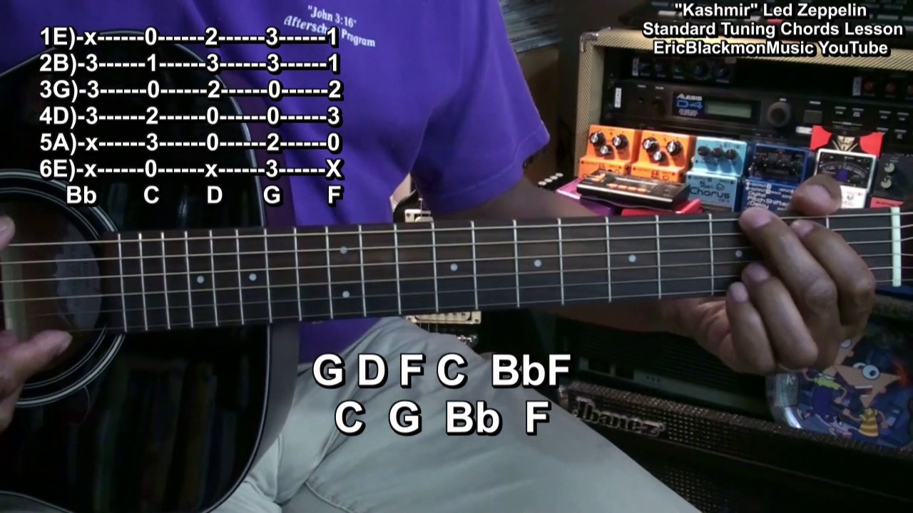 Kashmir Led Zeppelin Easy Guitar Chord Shapes Standard Tuning Guitar