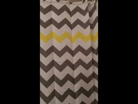 GoFriend® Striped Chevron Shower Curtain Bathroom Accessories, Gray/Yellow
