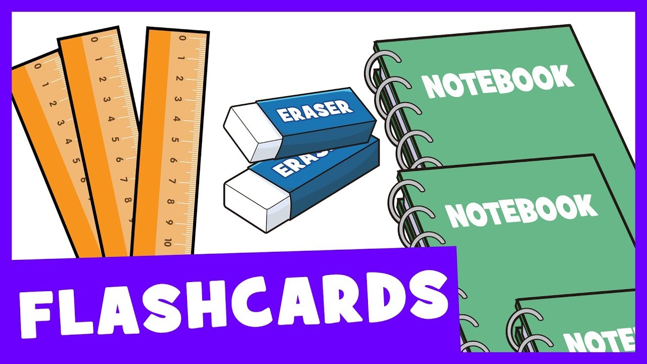 Learn School Supplies (Singular and Plural) | Talking Flashards ...