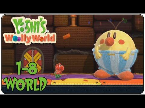 Yoshi's Woolly World 100% Walkthrough World 1-8 Burt the Bashful's Castle