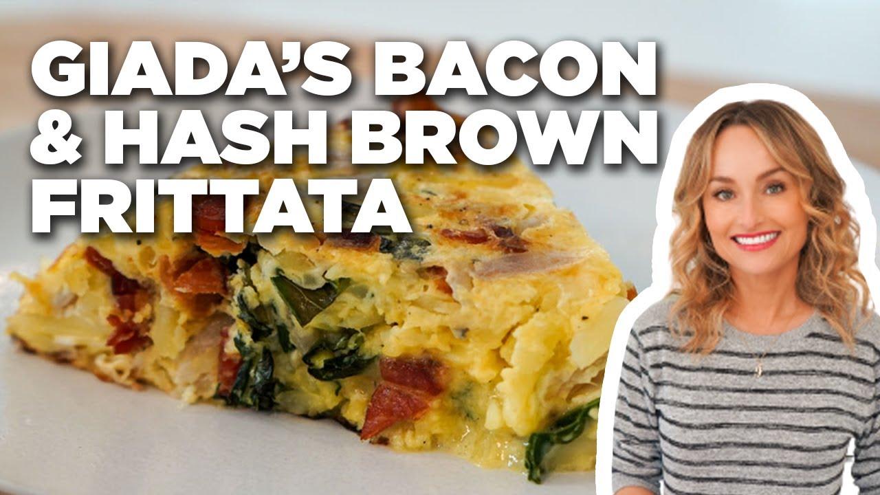 Giada De Laurentiis Cheesy Bacon And Hash Brown Frittata Giada At Home Food Network Youtube