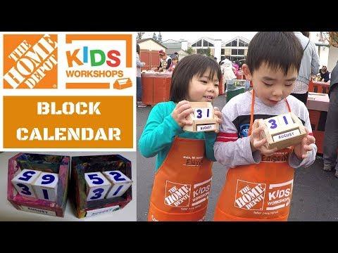 Home Depot Kids Workshop | Block Calendar DIY FREE FOR KIDS FUN ACTIVITY!