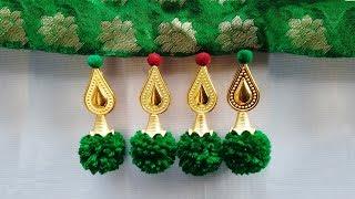 How To Make Saree Kuchu With Pom Poms & Beads L How To Make Saree Kuchu/ Tassels L Kuchu Design# 24