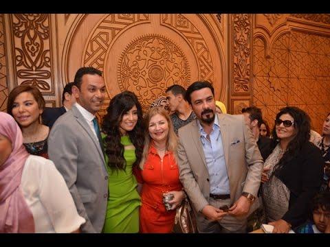 بـ'فستان أخضر'.. آيتن عامر تحتفل وسط نجوم الفن بعقد قرانها على 'عز العرب'
