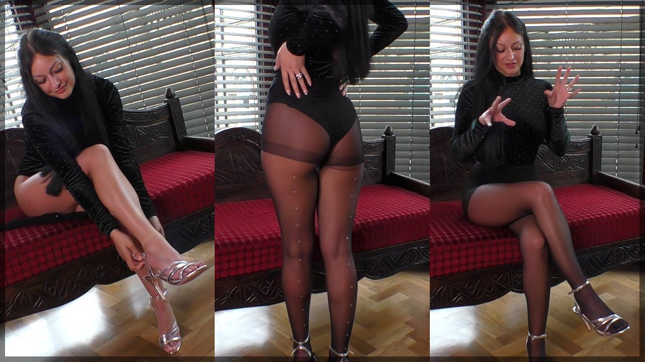 Cassie Tries On Gorgeous Sparkly Pantyhose - MUST SEE!