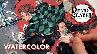 How I Painted Tanjiro & Nezuko from Demon Slayer (Sketch to Finish)