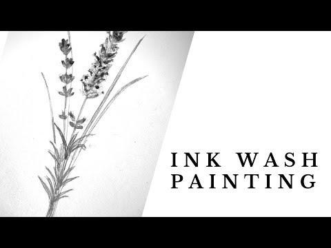 Ink wash | Speedpaint | Lavender Flower | Ink Painting Time Lapse