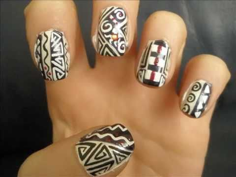 - Nail Art Tutorial- African Art / Wzory Z Afryki - YouTube