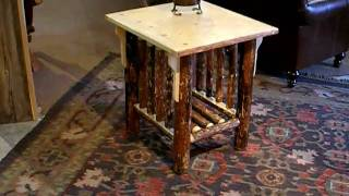 Log Side Table In A Mission Style By Frontier Log Furniture