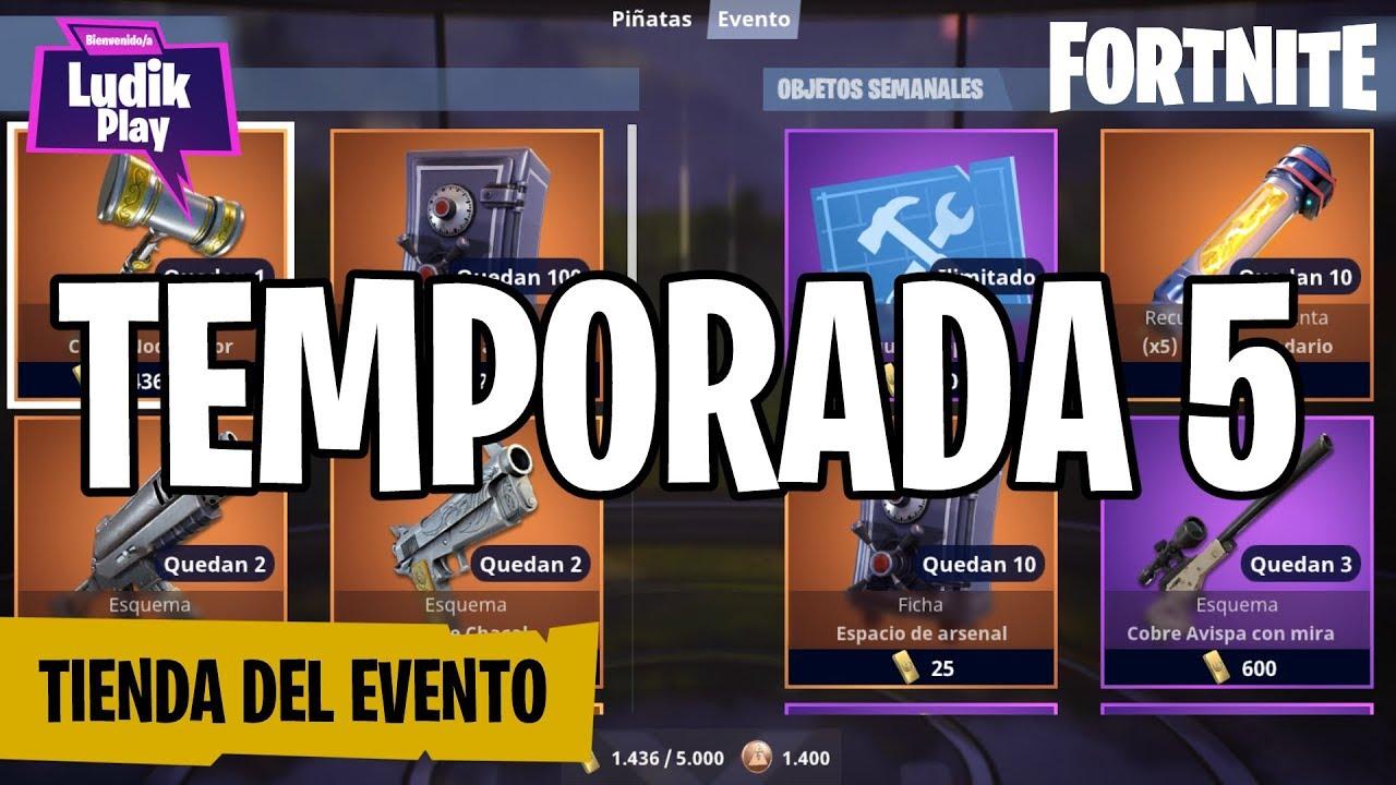 TIENDA DEL EVENTO TEMPORADA 5 (Chacal, Espadachín Ken, Rompeasedios)   FORTNITE SALVAR EL MUNDO