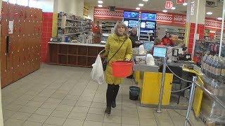 """город Никополь : Супермаркет """"Народный"""". Прогулка с видеокамерой"""