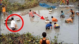 Village fish catching in Bangladesh | Fish catching in village pond water Part 1#