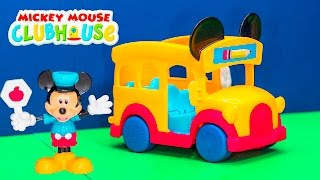 MICKEY MOUSE CLUBHOUSE Disney Mickey Mouse Sliding School Bus a Mickey Mouse Video Toy Unboxing