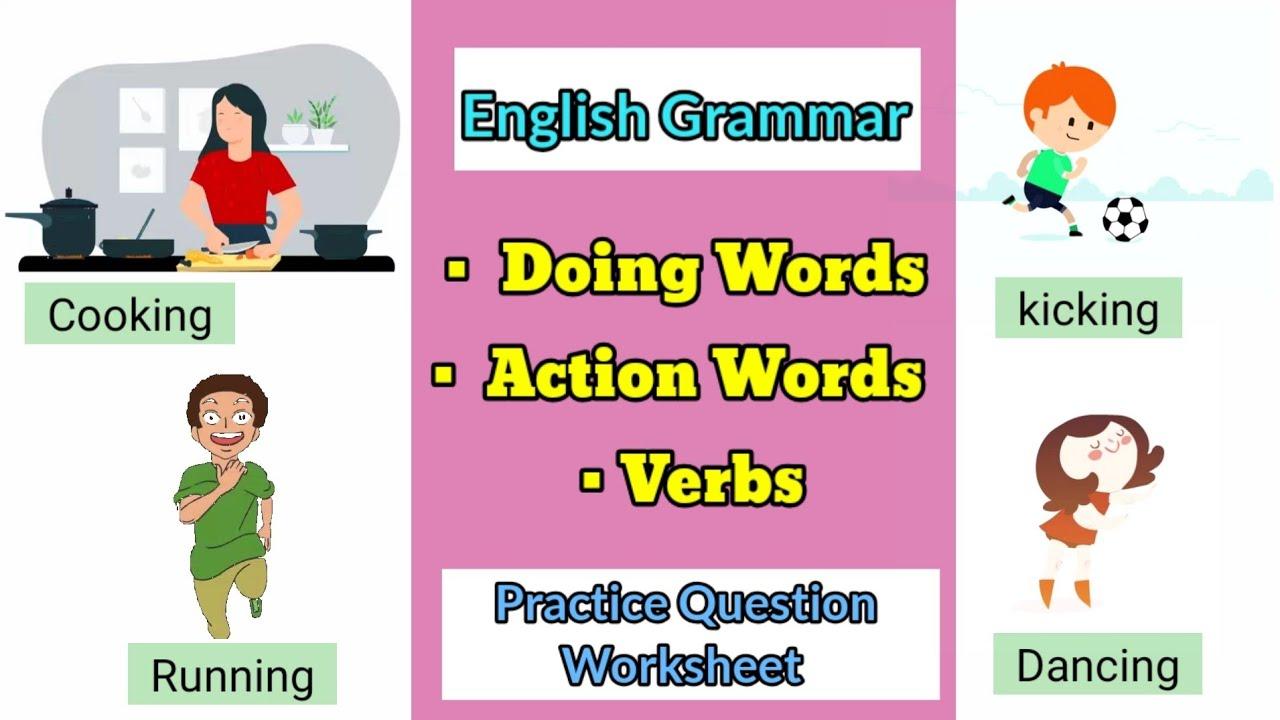 medium resolution of English Grammar Doing Words For Grade 1   Action Words   Verb   Worksheet -  YouTube