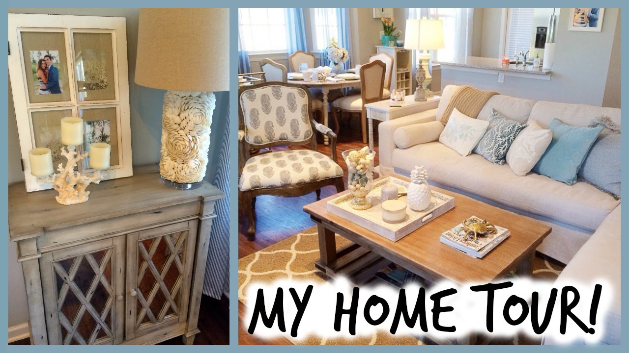 Home tour coastal decor alexandrea garza youtube for House to home decor