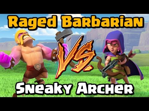 Raged Barbarian VS Sneaky Archer - Clash of Clans Battle - New CoC Update 2017