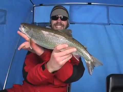 ice fishing splake on lake superior youtube