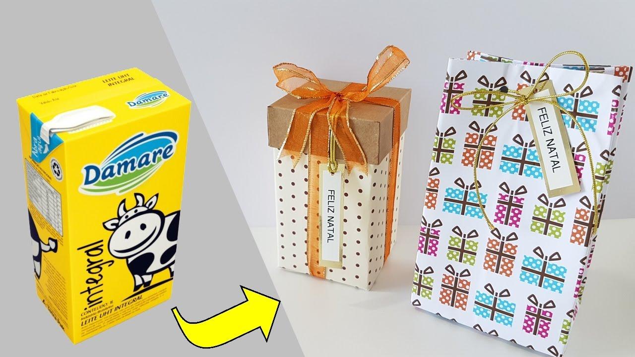 Diy Ideia Com Caixa De Leite Para O Natal Viviane Magalhães