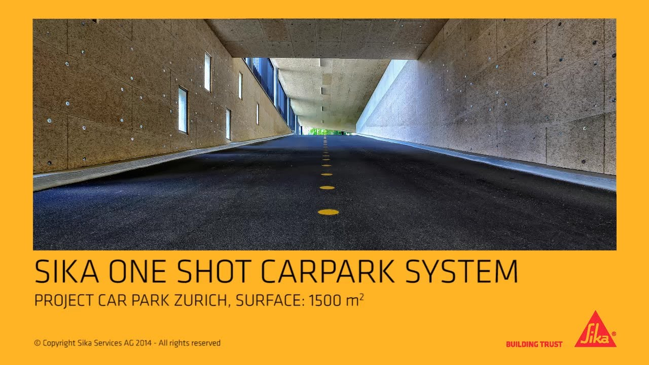 Sika one shot parkdeck system application in a carpark in Zurich,  Switzerland