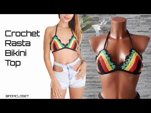 How to Crochet Rasta bikini bras/Rasta top #pomcloset