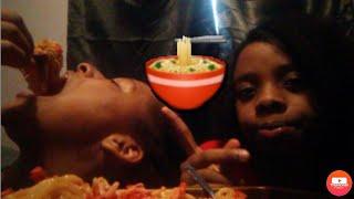 ASMR?! Mukbang (spicy cheesy noodles w/ hot cheetos) **Almost choked 😷