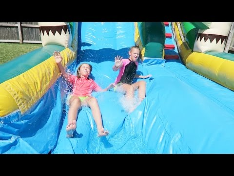 BIRTHDAY PARTY! Water Slide FUN and Cotton Candy Machine!