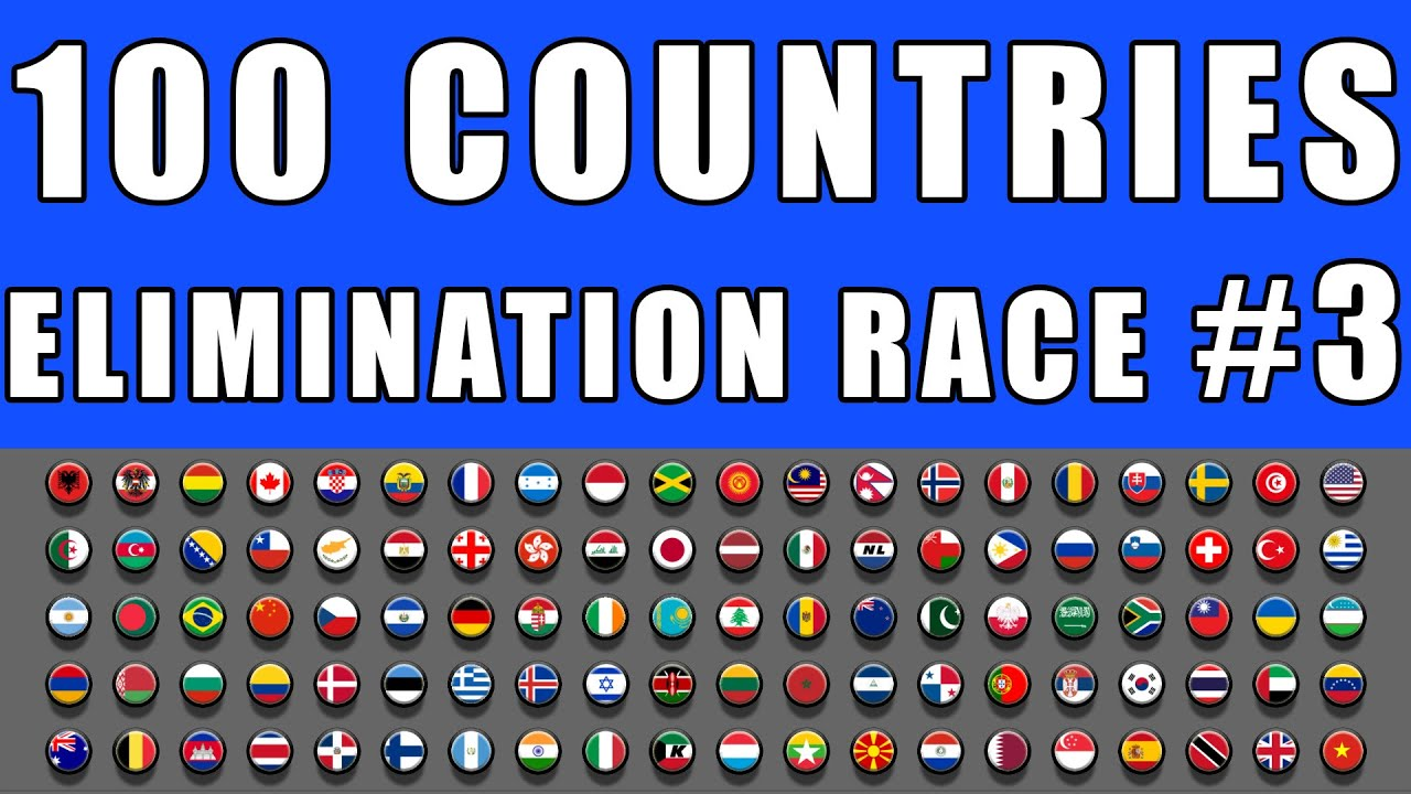 100 Countries Elimination Marble Race 3 in Algodoo \ Marble Race King