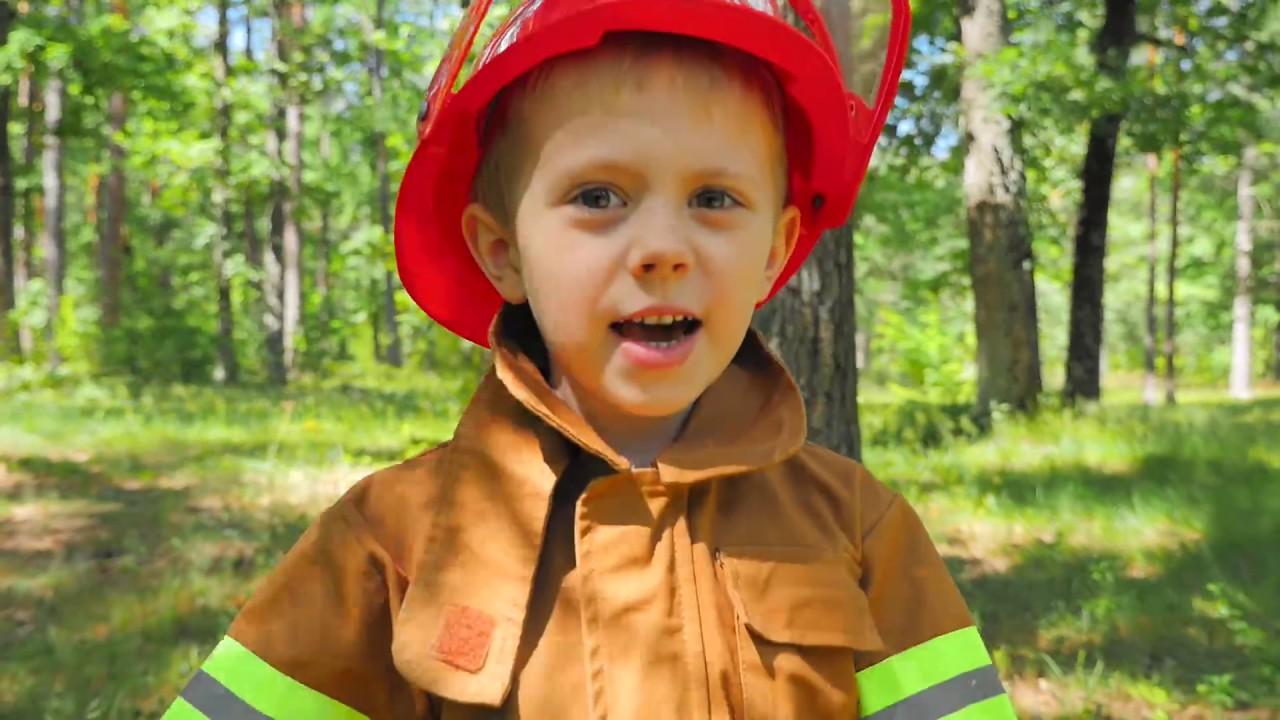 Пожарный Даник против ЛЕСНОГО ПОДЖИГАТЕЛЯ - Смешное видео для детей про Пожарных Kids Videoi