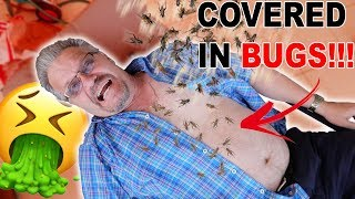 INFESTED BUGS THROWN ON DAD PRANK!!