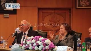 علي حسن متحدثا في احتفالية بميلاد الأب الروحي ل أ ش أ بحضور السيدة جيهان السادات