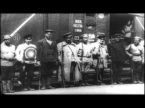 Russian revolution, Communist Russian troops, and Vladimir Lenin addresses a huge...HD Stock Footage