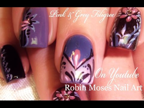 Pink And Gray Nails 5 Designs In 1 Elegant Nail Art Tutorial Youtube