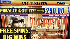 LAREDO BIG WINS ON FREE PLAY PLUS FREE SPINS WITH FRIENDS, MAJOR PROGRESSIVE WIN PICTURES