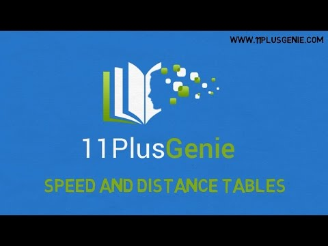 11 Plus Genie Maths - Distance tables and speed