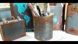 Efecto óxido y corrosión. SIN PINTURA! Económico con materiales fáciles de conseguir #GracielaHerman