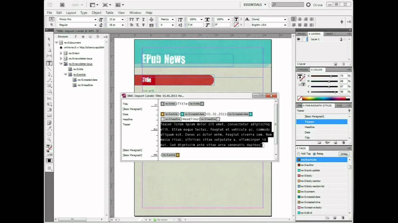 How to import XML into InDesign - Clean HD - YouTube