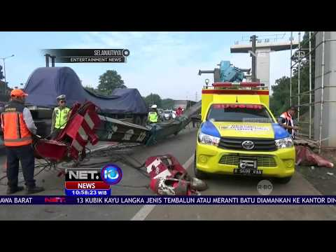 Crane Jatuh Di Ruas Jalan Tol Jakarta Cikampek, Lalin Sempat Ditutup - NET10