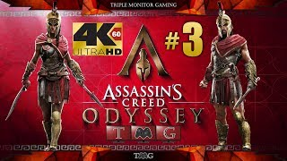 ASSASSIN'S CREED ODYSSEY [4K@60fps] walkthrough part 3(main story only) |Triple monitor gameplay