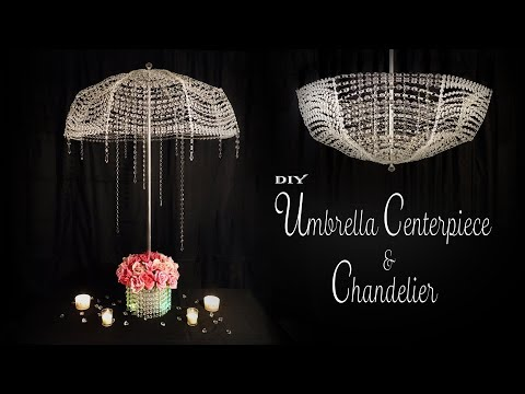 Umbrella and Chandelier DIY / Bridal Shower decor / Sweet 16 Decor / Quinceanera decor